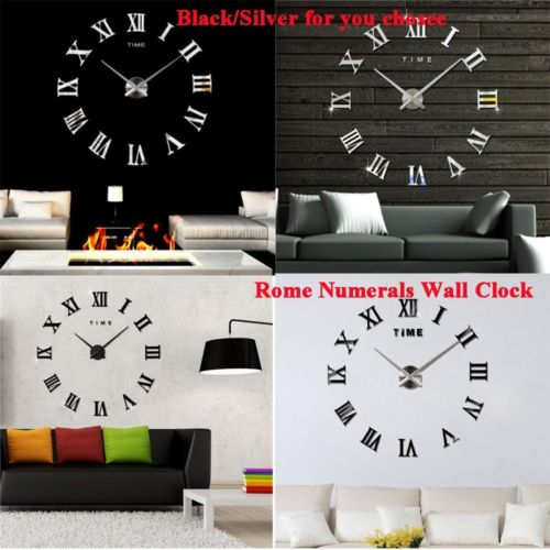 New 3D Mirror Luxury Modern DIY Large Wall Clock Surface Sticker Home Decor FH