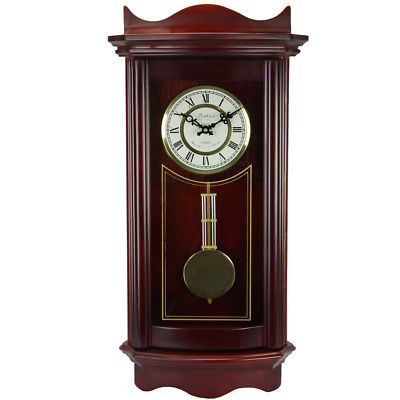 Bedford Clock Collection Weathered Cherry Wood 25 Wall Clock with Pendulum