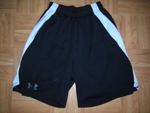 UNDER ARMOUR Youth S Boys BLACK WHITE STRIPE Athletic Shorts ~ ELASTIC WAIST