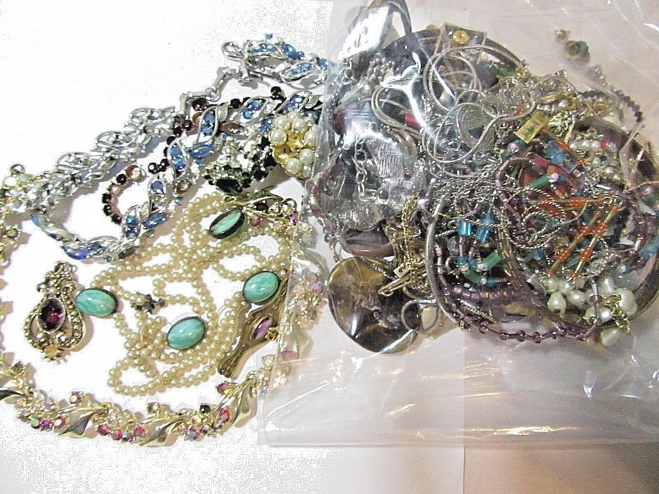 JUNK JEWELRY RHINESTONES ODD ENDS FOR REPAIR CRAFTS AS IS