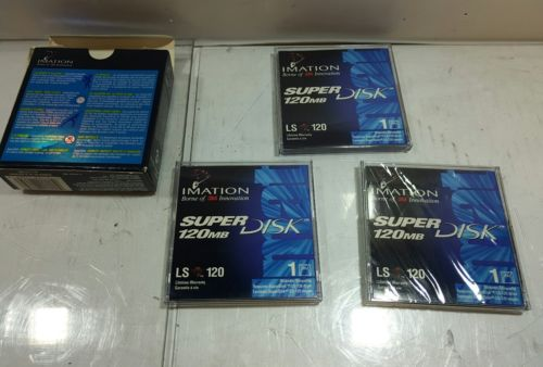 - LOT OF 3 NEW Imation Super Disk 120MB Formatted Diskettes for LS-120 Drive