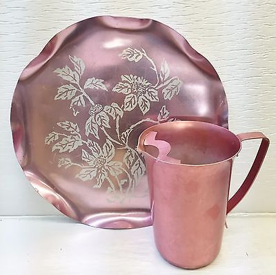 Vintage Aluminum Pink Water Pitcher w/Ice Guard + Round Pink Tray