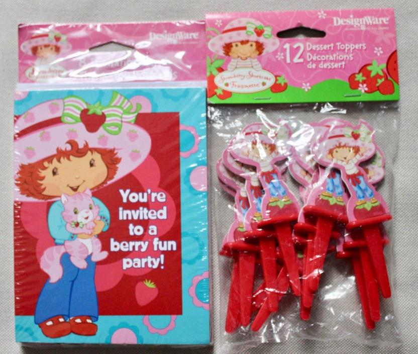 Strawberry Shortcake Invitations, Thank You Cards, & Dessert Toppers NIP