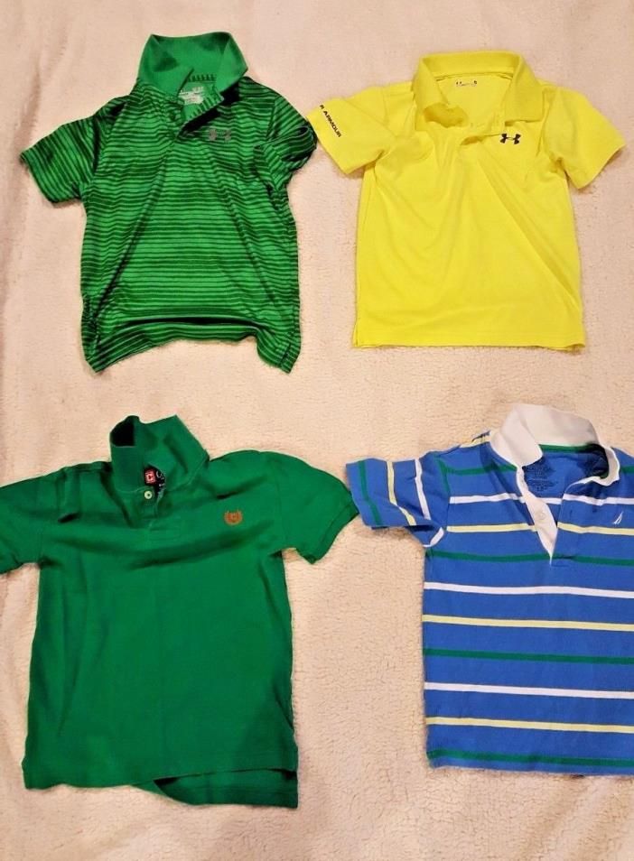 Lot of 4 Short Sleeve Shirts Size 6 / 7 / 8. Under Armour. Chaps. Nautica. NICE