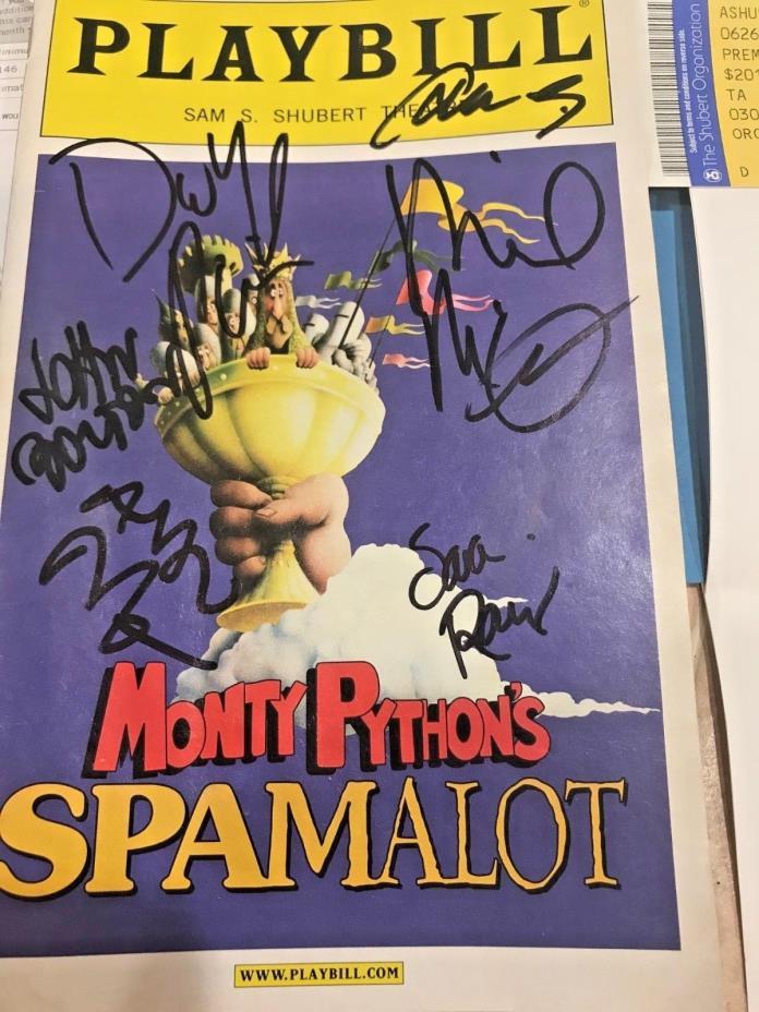 Monty Python's SPAMALOT signed PLAYBILL, TICKET DAVID HYDE PIERCE - JOHN BOLTON