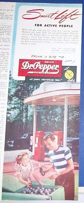 1947 Dr Pepper soda Ad~fuel stop~gas station photo~green metal dispenser