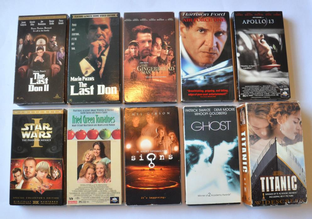VHS Tapes Mix lot of 11 (Titanic, Ghost, The Last Don 1 & 2, Signs & more)