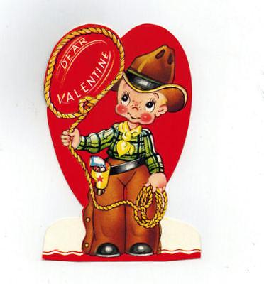 Vintage Mechanical Valentine Little Cowboy Roping in Dear Valentine Greetings
