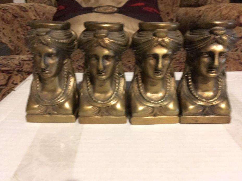 ANTIQUE ORMOLU 4 CARYATID HEADS FURNITURE PARTS