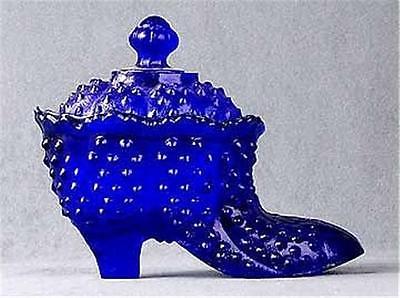 Cobalt Blue Glass Hobnail Shoe Candy Dish