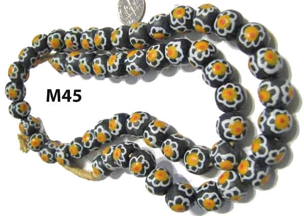 African Powdered Glass Handmade Cylinder Bead Trade BLACK WHITE YELLOW M45