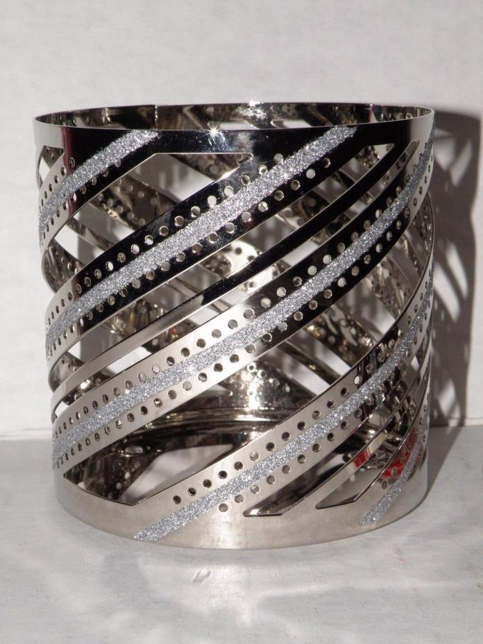 YANKEE CANDLE CHROME SWIRL & BLING JAR CANDLE HOLDER NWTS RETIRED VHTF