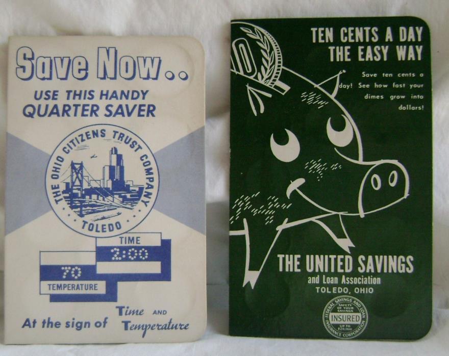 2 Rare 1970's United Savings  & Ohio Citizens Ohio Dime Savers