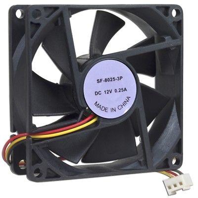 3 x 3 (80mm) Case Fan w/3-Pin Connector (Black)