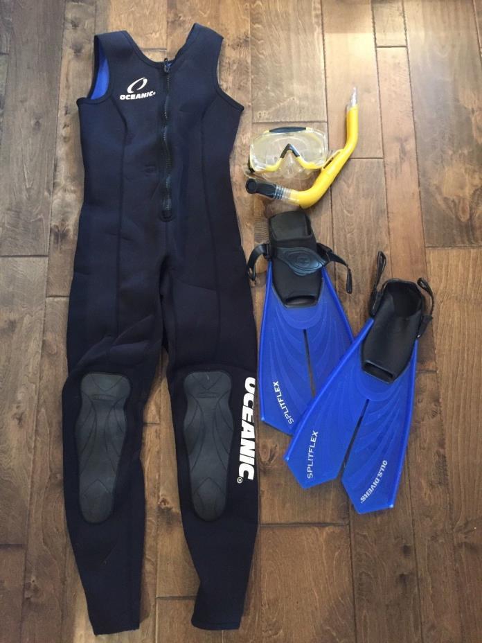 Wetsuit, Snorkel, Mask, & Fins Combo
