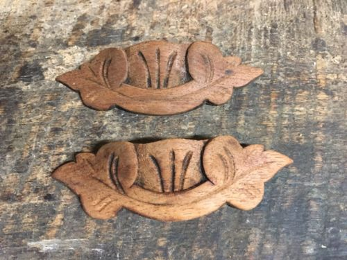 Pair Antique Victorian style composition carved handle drawer Pulls