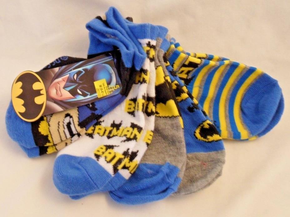 Batman No Show Socks Boys Size Med Shoe Size 6-8.5 New 5 Pairs Bat Logo Signal