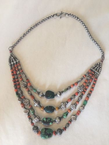 ??VINTAGE?? TIBETAN Turquoise And Coral Necklace Sterling Beads Bohemian