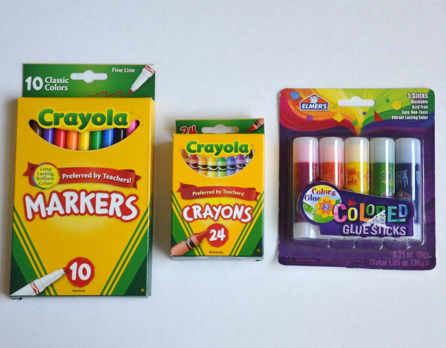 Crayola/Elmers (Lot of 3) 1 pack Classic Markers,1 Crayons,1 Colored Glue Sticks