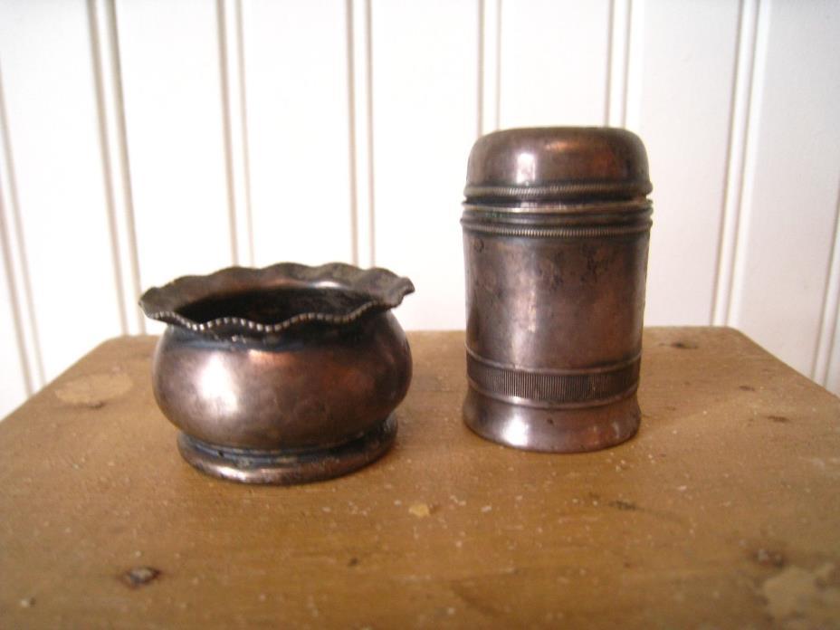 Antique/Vintage Silver Plate Open SALT CELLAR & PEPPER SHAKER