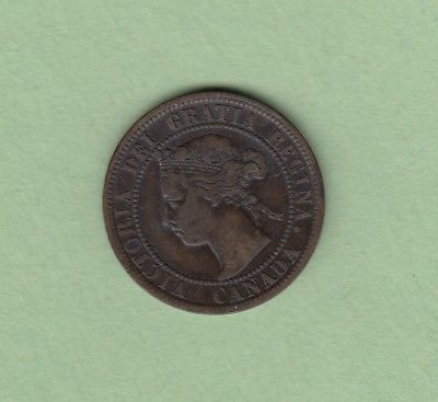 1899 Canadian Large One Cent Coin - VG