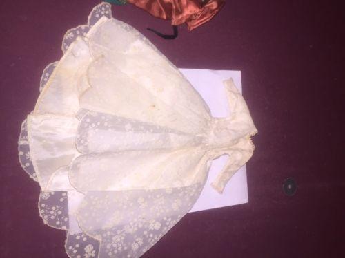 VINTAGE Wedding EVENING DRESS Creme w/white floral lace