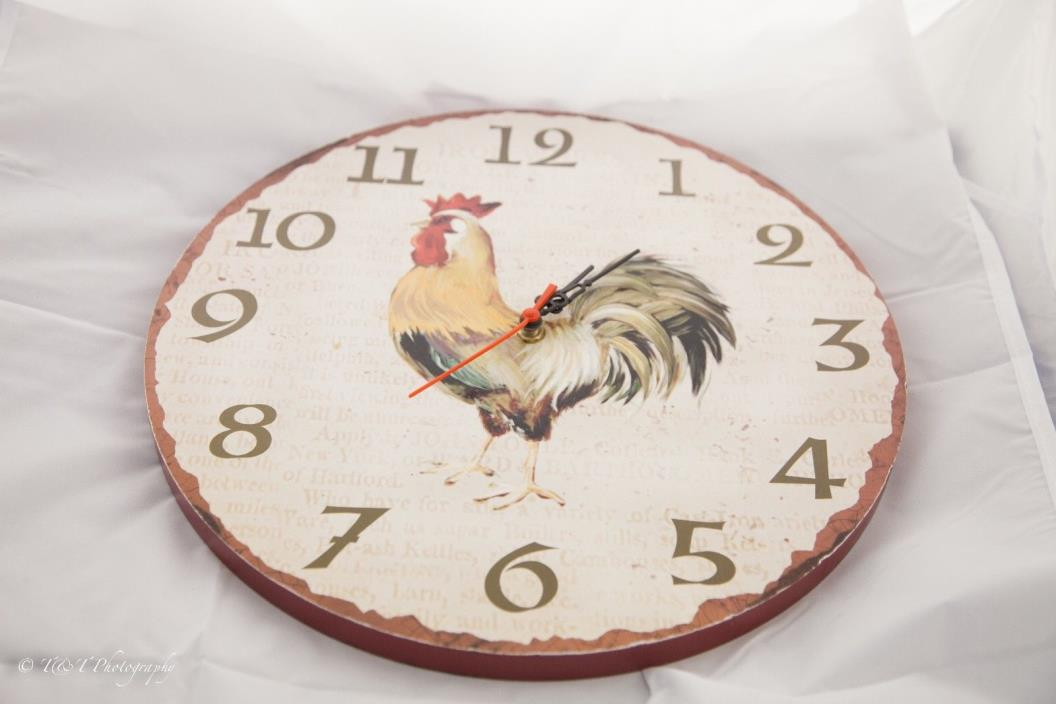 Rooster Antique Style kitchen Clock Vintage Wood Wall Clock