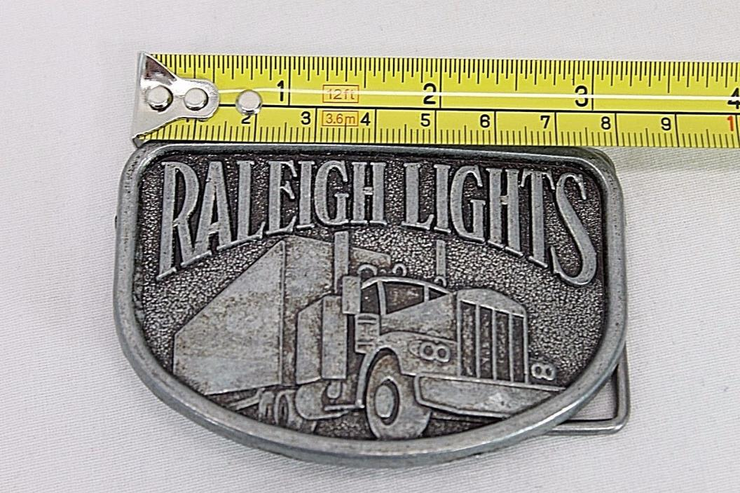 Vintage Raleigh Lights Trucker Trucking Semi Belt Buckle Silver Tone