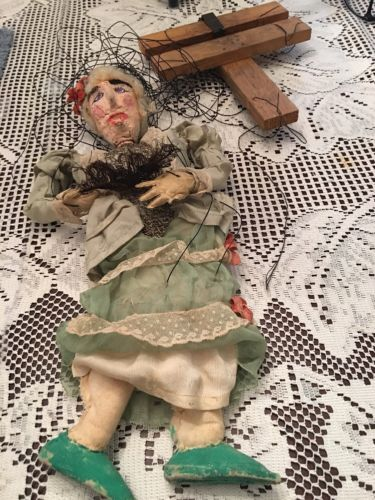 Antique Marionette Puppet Old Lady String Puppet Plaster & Wood & Fabric 16