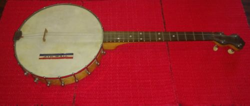 Antique Slingerland 4 String Tenor Banjo Birds Eye Maple Metal Resonator
