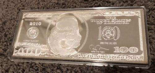 ???? 2010 ???? 4 Troy Ounces .999 Silver $100 Bill, 4oz Proof Note Size Bar