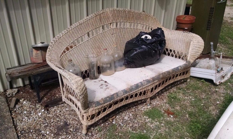 Ivory Antique Wicker Sofa