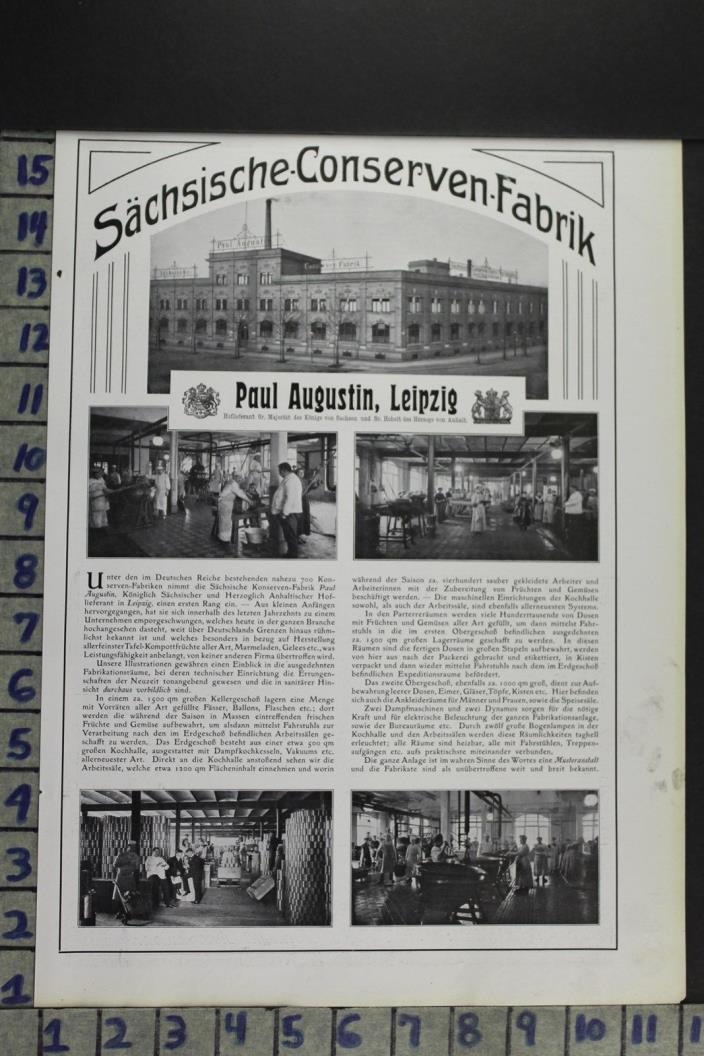 1907 ARCHITECTURE AUGUSTIN GERMAN CANNING FACTORY MANUFACTURE VINTAGE AD DZ090