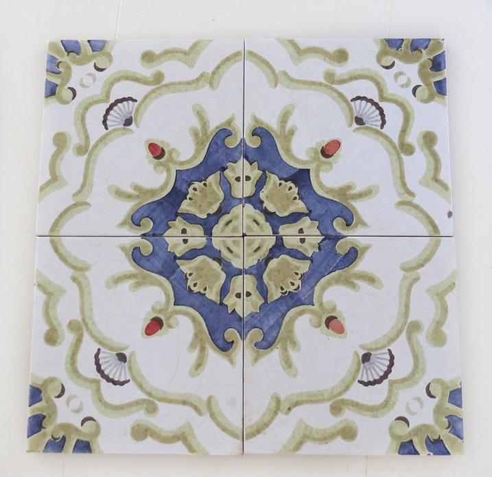 Old Vintage Italy Italian 8 x 8 Glazed Crazed Tiles Whites Blues Celery Green