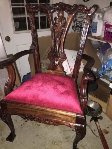 VICTORIAN CHILD'S PARLOR ARM CHAIR Carved Claw Front Feet Red Velvet Small