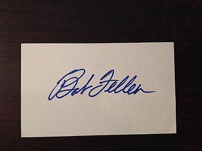 Bob Feller Signed 3X5 Index Card Cleveland Indians Hall of Fame