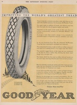 1923 Goodyear All-Weather Car Tires Vintage Garage Shop Decor Automotive Ad
