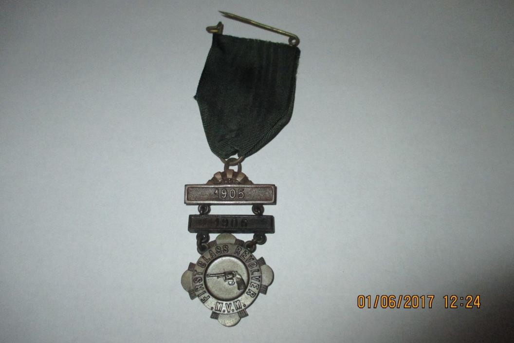1905 & 1906 First Class Revolver Medal for Massachusetts Volunteer Militia (MVM)