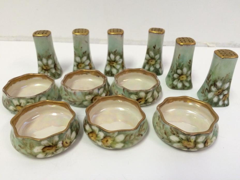 6 Antique Hand Painted Salt Cellars Matching Pepper Shakers DAISIES Germany