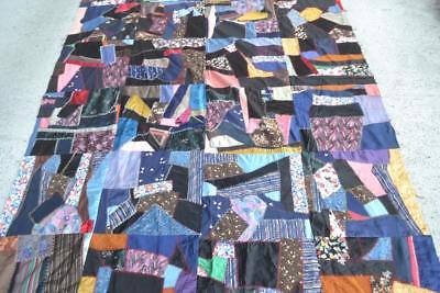 vintage antique SILK etc Crazy QUiLT Topper hand embroidered AMERICANA textile