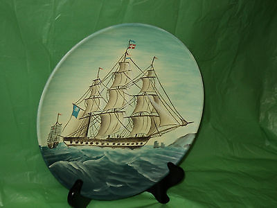 Decorative  Sail Ship Design  Display Plate w/ Cross Flag
