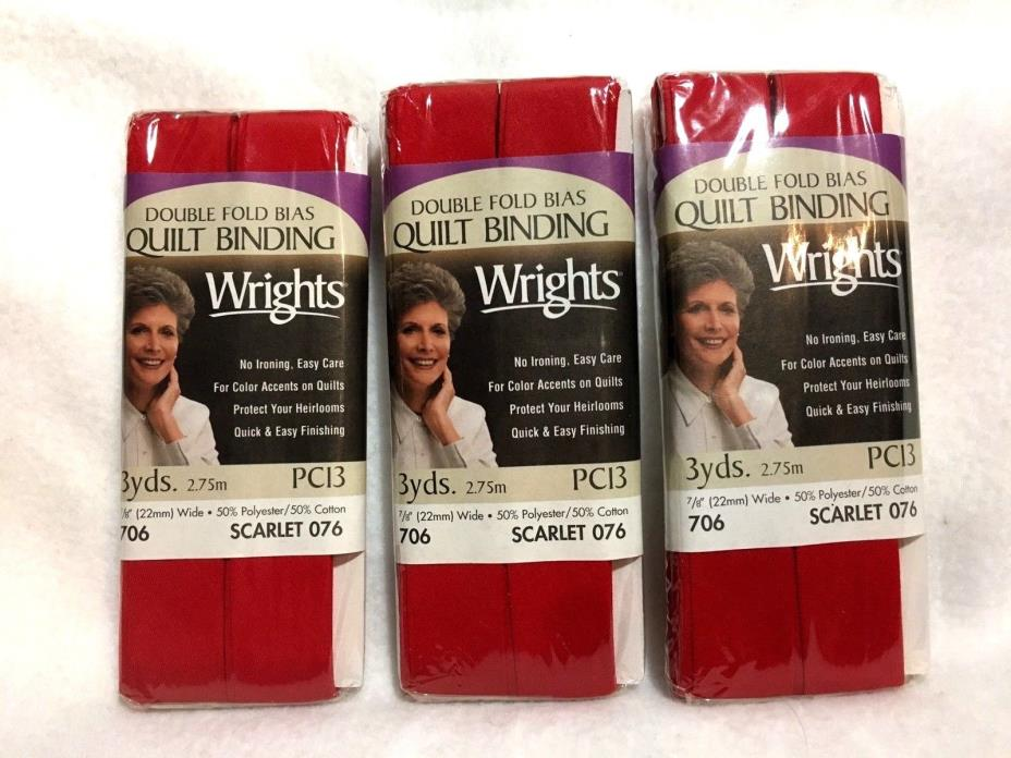 Lot of 3 Wrights Double Fold Bias Tape Quilt Binding 706 Scarlet 076 PC13 USA