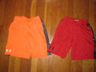 Lot 2 pair Under Armour boys SHORTS red orange athletic UA Hustle YMD M Medium