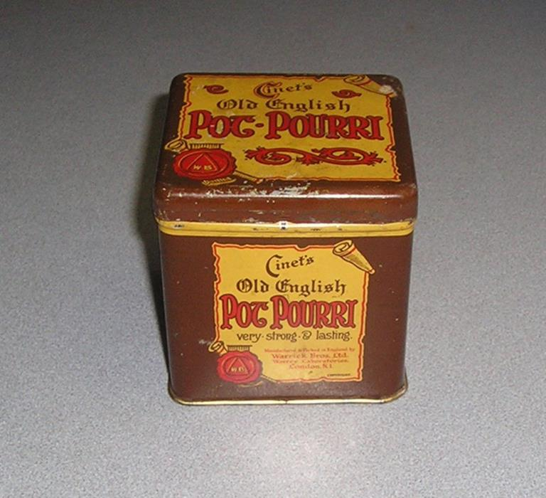 Cinet's Old English Pot-Pourri, very strong and lasting, advertising tin Vintage