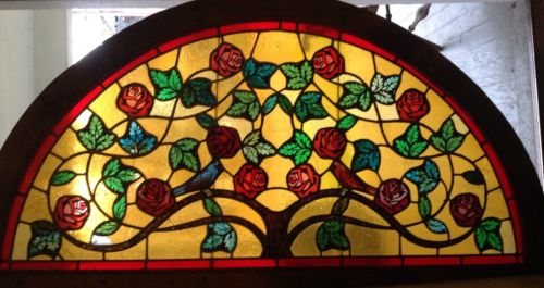 Stained Glass Arch Window With Bluejay And Cardinal