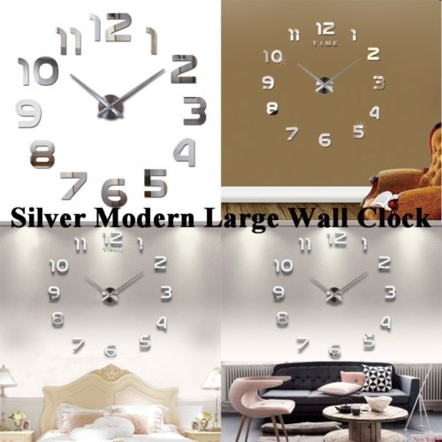 3D Wall Clock Acrylic Sticker DIY Removable Art Mural Home Room Decor Sliver FH