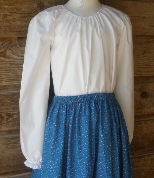 Girl Prairie Peasant Old Fashioned Costume blouse white cotton muslin size 7 8 M