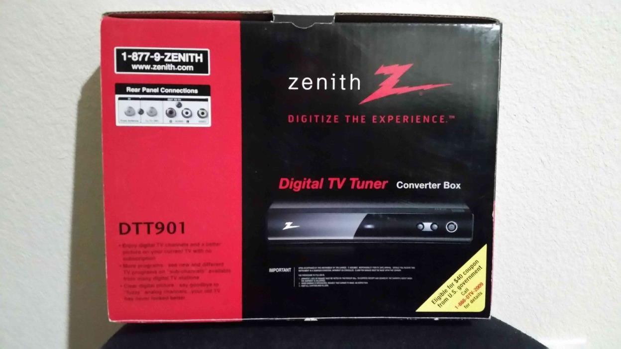Zenith Digital TV Tuner DTT901 Converter Box Remote Cables New 2008 Unused
