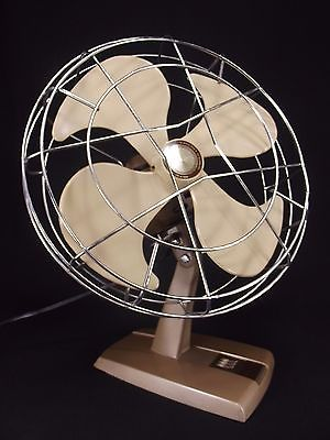 VINTAGE TOASTMASTER Brown Oscillating Fan metal RETRO mid century modern