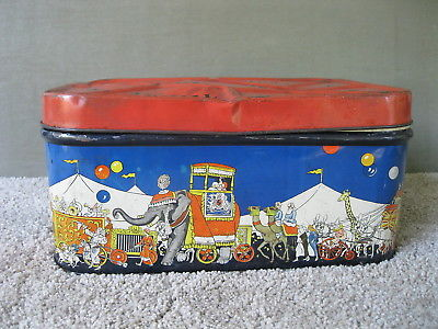 Antique CIRCUS Tin Vintage Colorful SUPREME BISCUIT Bread Box Hinged Lid Storage
